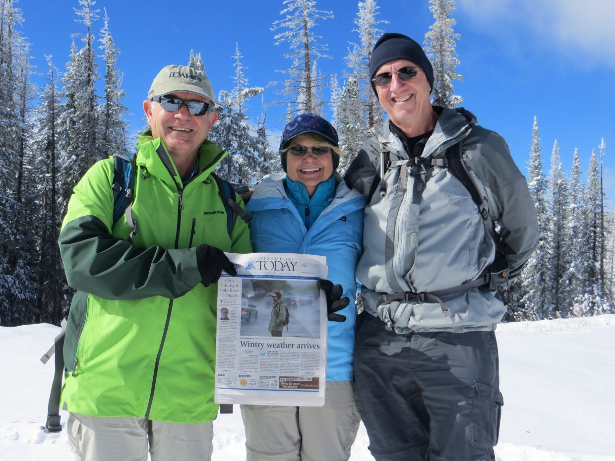 Taken Saturday on Buff Pass. With the Steamboat Today paper: Dave Tridle, from left, Linda Mitchell and Fred Mitchell. Submitted by: Shannon Tridle