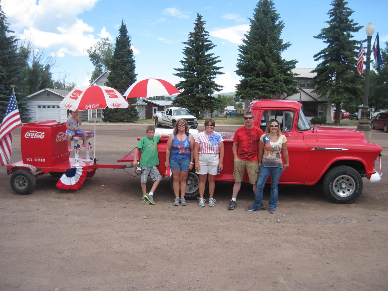 Brettlee Gherna, Tammie Crawford, Tracy Viele, Treavor and Danetta Gherna at the Yampa Fourth of July Parade. Submitted by: Diana Cole