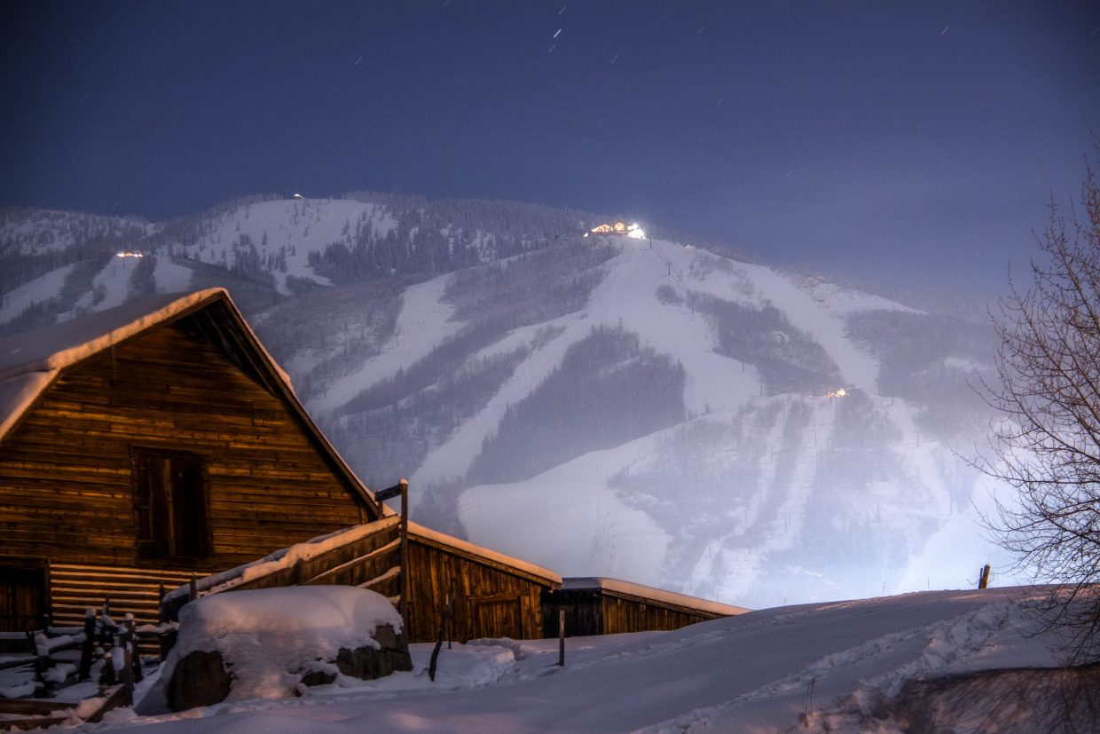 It was worth the subzero temps for this shop. This is the Moore Barn on Wednesday night once the night skiing lights were off. Settings: f5.6, 30sec, ISO400, 90mm. Submitted by: Brendan Durrum