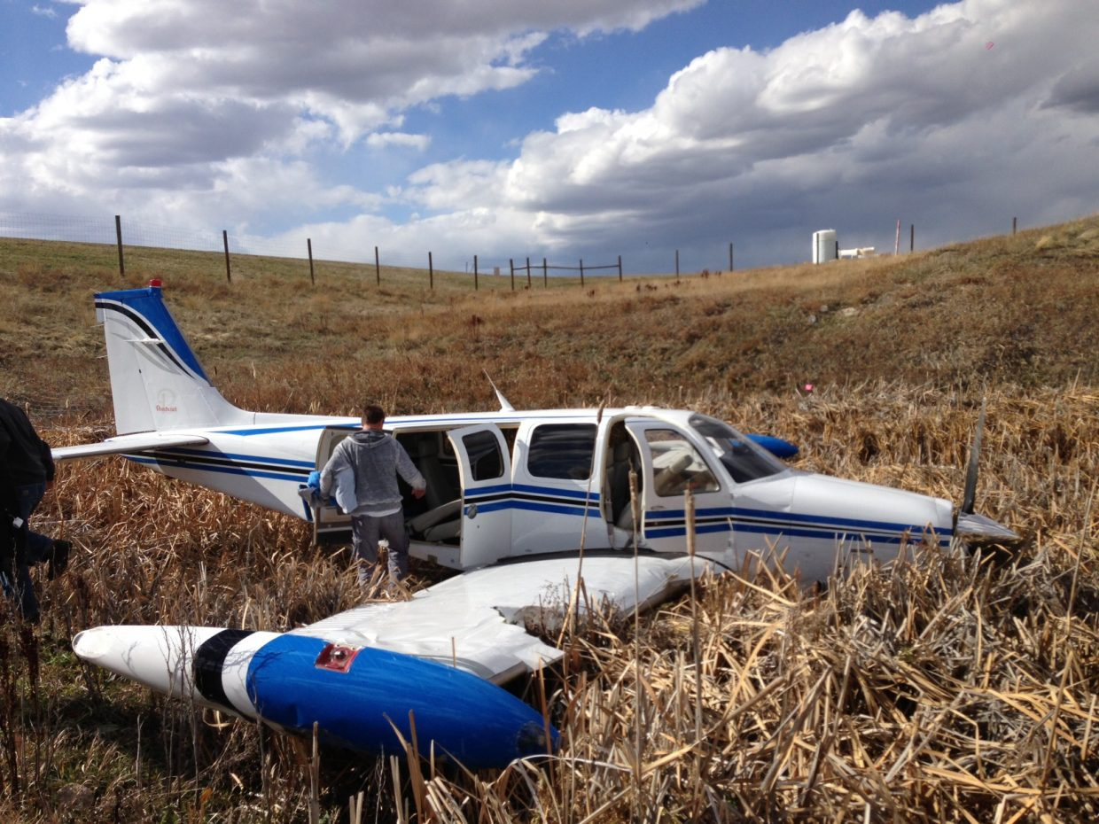 A sudden and strong gust of wind sent a private plane in the process of landing about 600 feet off the runway at Yampa Valley Regional Airport on Sunday afternoon, but the pilot and passengers all emerged safe.