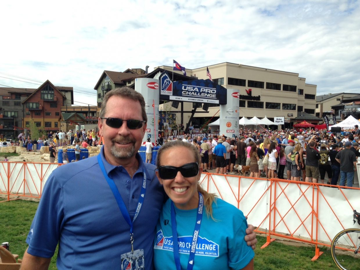Jim Schneider and Kara Stoller, Local Organizing Committee co-chairs, at the 2013 USA Pro Challenge.