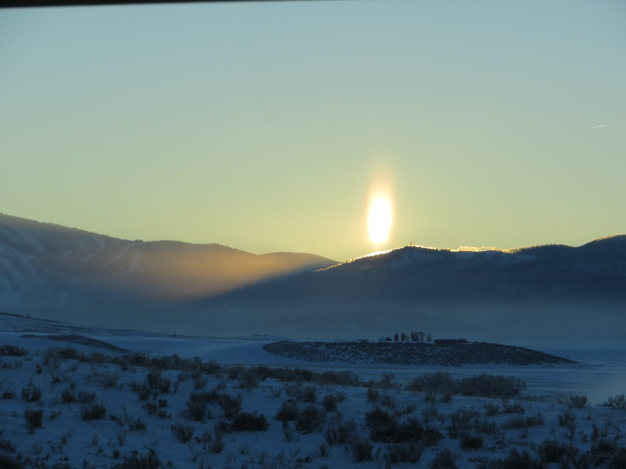 Fire on the Mountain! Sun coming up behind Emerald this morning. Submitted by: Sherry Yates