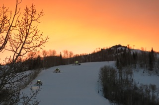 Three groomers at sunrise on Mt. Werner. Submitted by Lynn Didier.