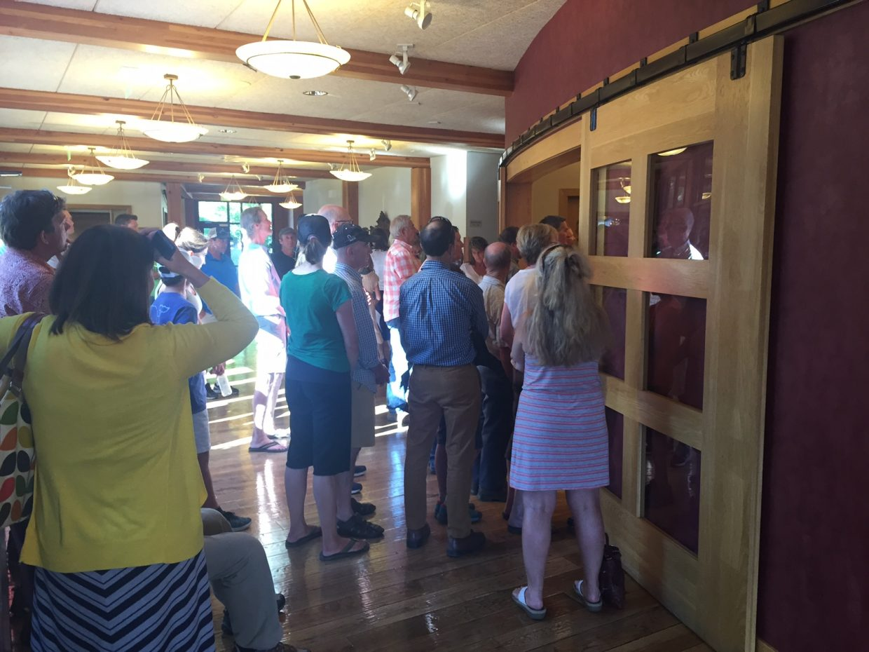 An overflow crowd listens to the Steamboat Springs City Council discuss the future of Howelsen Hill on Tuesday night.
