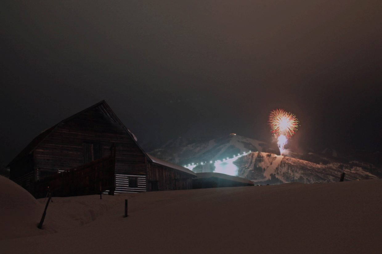 Tonight's fireworks taken at the barn. The settings were 15sec, f5.6, 100ISO, 25mm. Submitted by: Brendan Durrum
