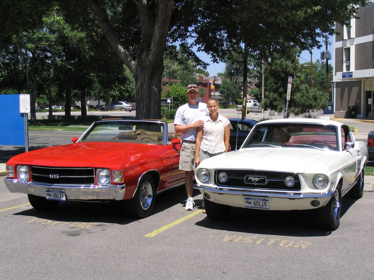 Denver resident Bruce Karlberg, pictured with his daughter, Jenny, was always a Chevy man until the 1967 Mustang GT, right, stole his heart. It had a blown engine when he acquired the car, and Karlberg fully restored it to stock himself. (Courtesy photo)