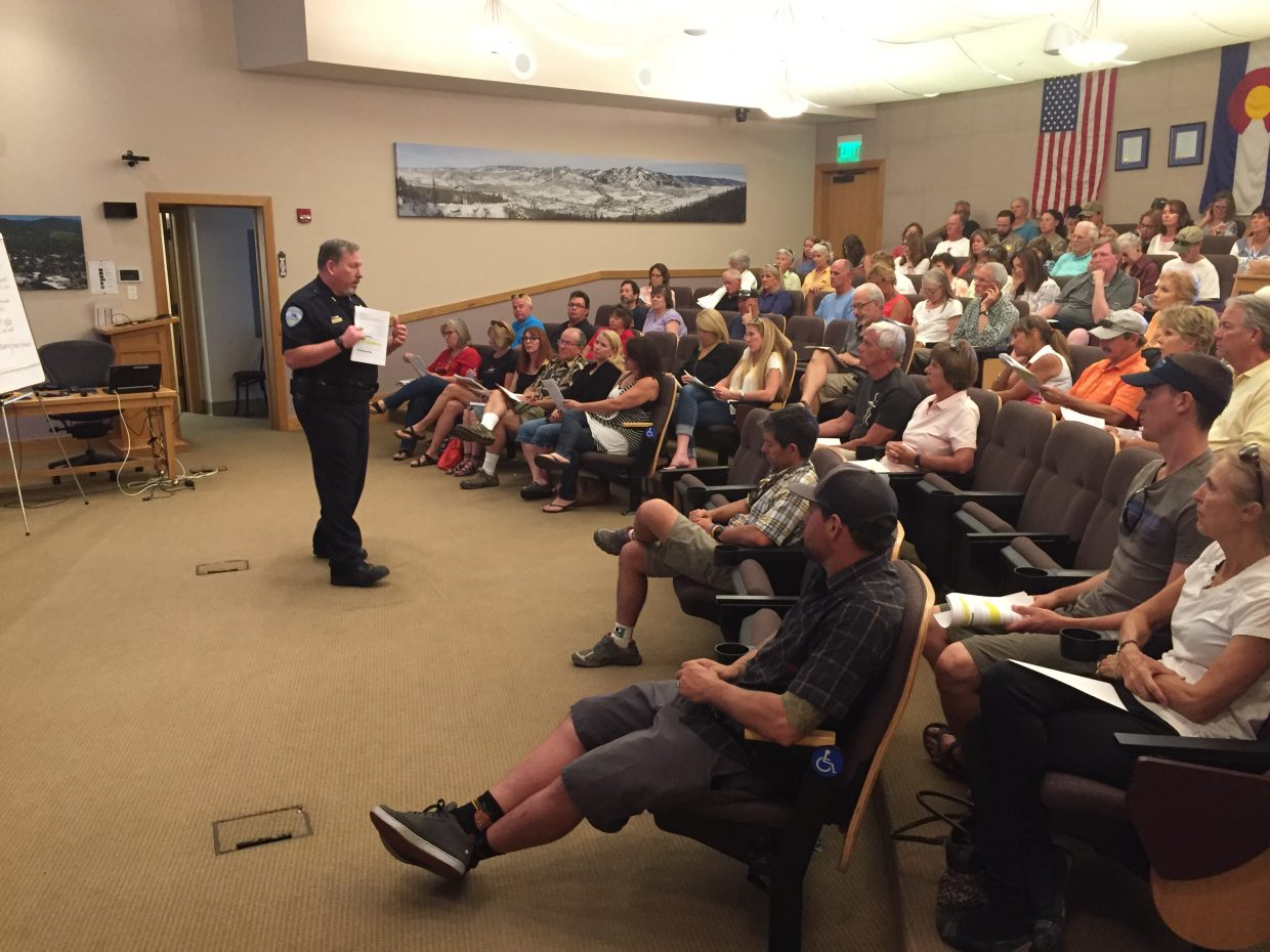 Steamboat Springs Police Chief Cory Christensen talks to community members Tuesday night about changes he is proposing to the city's animal ordinances.