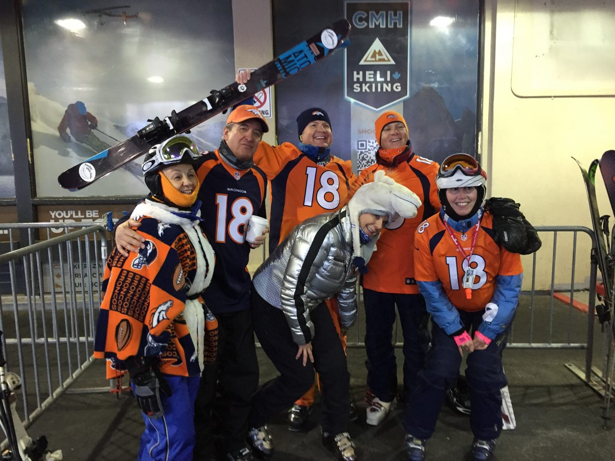 Super Bowl Sunday got off to a great start with Broncos fans enjoying First Tracks at Steamboat Ski Area. Locals Scott Marr and Wendy and Jim McCreight were joined in the Gondola line by Joanie Golomb, of Boulder, and Bert and Lisa Wagner, of Cheyenne, Wyoming.
