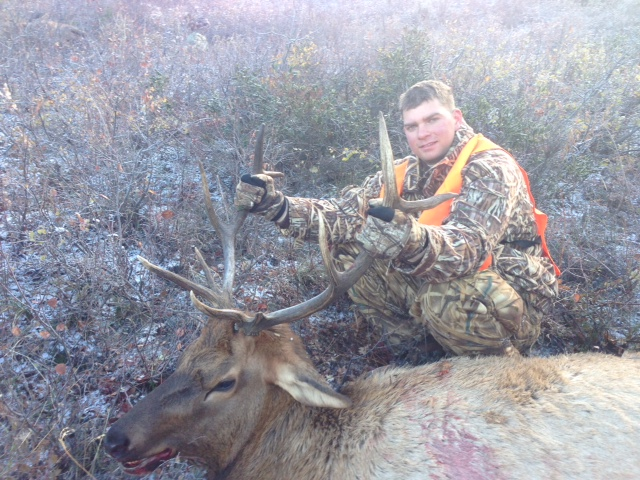This is a picture of Riley Thompson, who is 25 years old. He was a graduate of Steamboat Springs High School in 2006. He is currently a Marine stationed at Camp Pendleton in California. This was his first hunt, and he shot this five-point bull on his third day out, Oct. 7 at about 10 a.m. He was hunting with his dad, Danny Thompson, and friend in the Rocky Peak Drainage area, which is a public area. He used a 30.06 and was about 130 feet out.