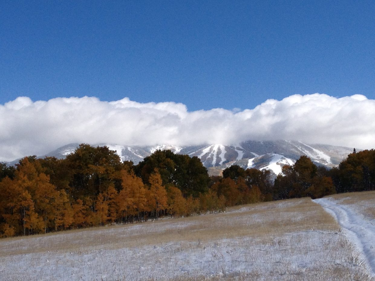 Where did fall go? Morning snow run, Prayer Flag Meadow. Submitted by: Brandon Oss