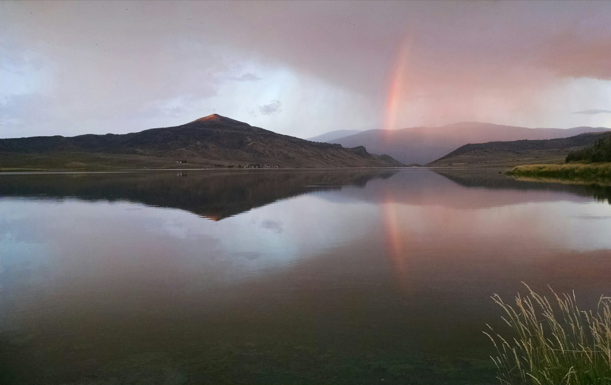 Rainbow at Stagecoach Reservoir on 08/28. Submitted by Elizabeth Miller.