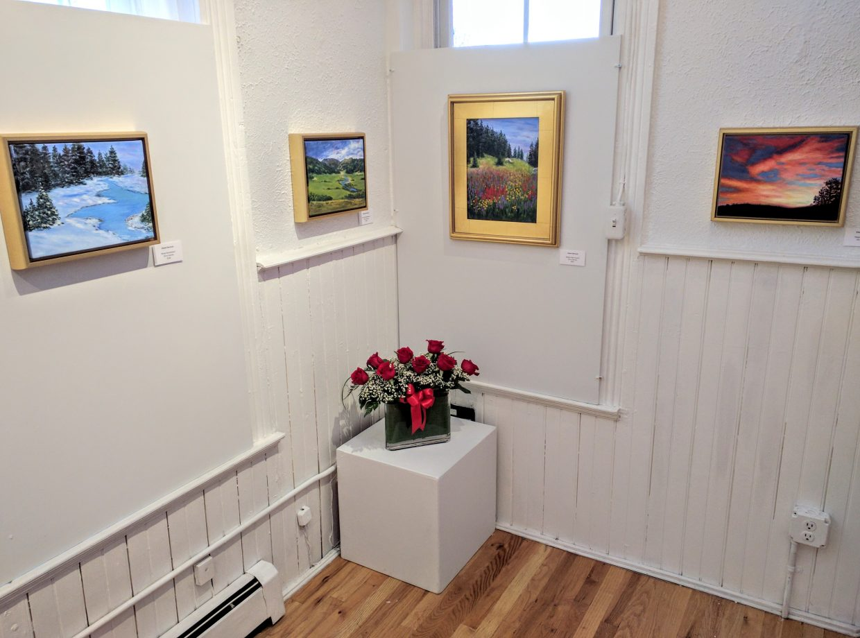 Some of Elaine Dermody's paintings, which are currently on exhibit in the Platform Gallery at the Depot Arts Center.