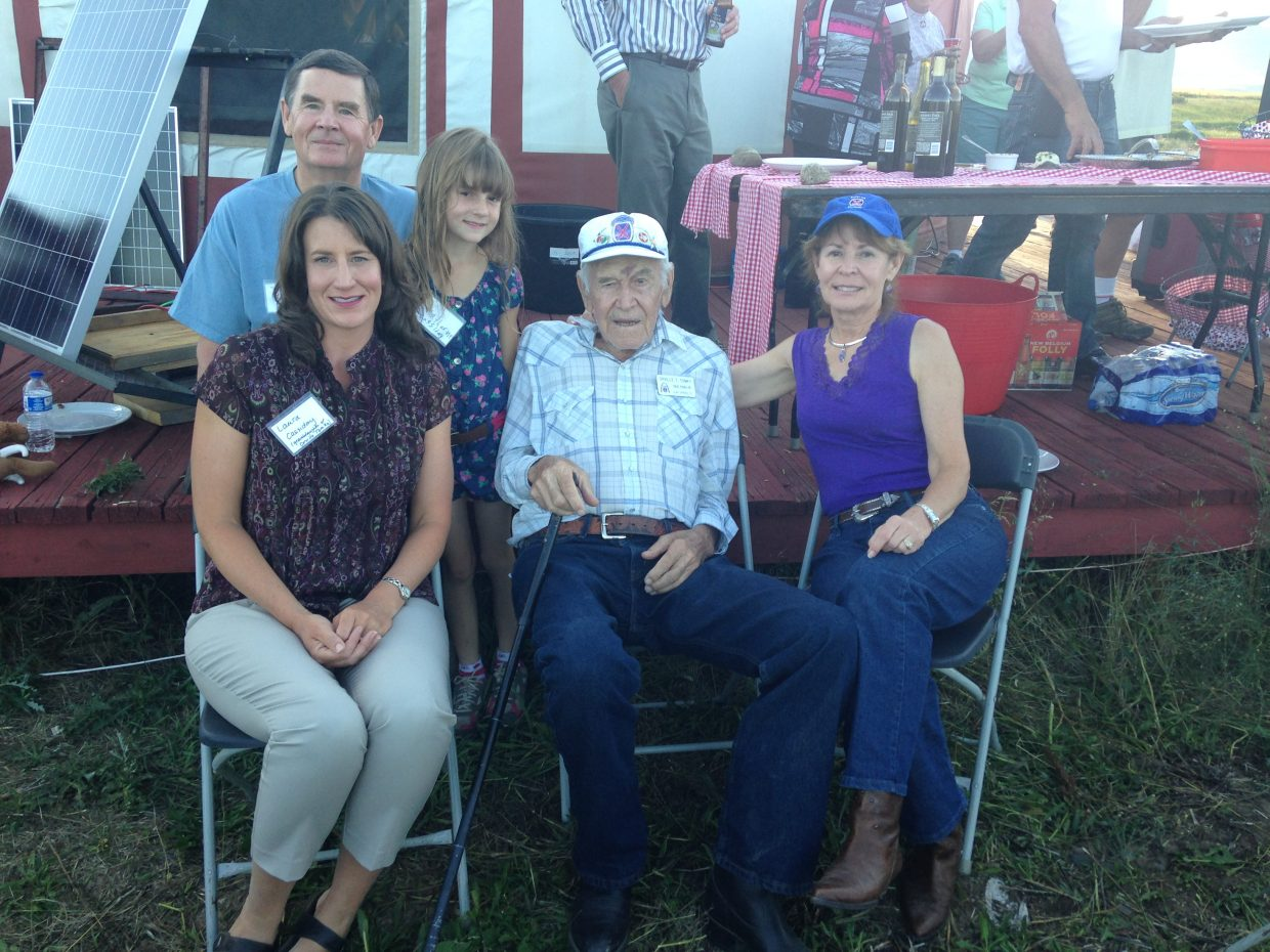 Four generations of the Tomky family get together for a barbecue dinner Saturday evening at the Hogue Ranch. Each of veteran Orville Tomky's family members pictured is a member of the Rocky Mountain Chapter of the 10th Mountain Infantry Division Descendants.