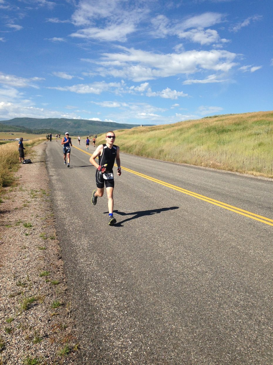 Runners enter the home stretch in the Steamboat Olympic Triathlon on Sunday morning.