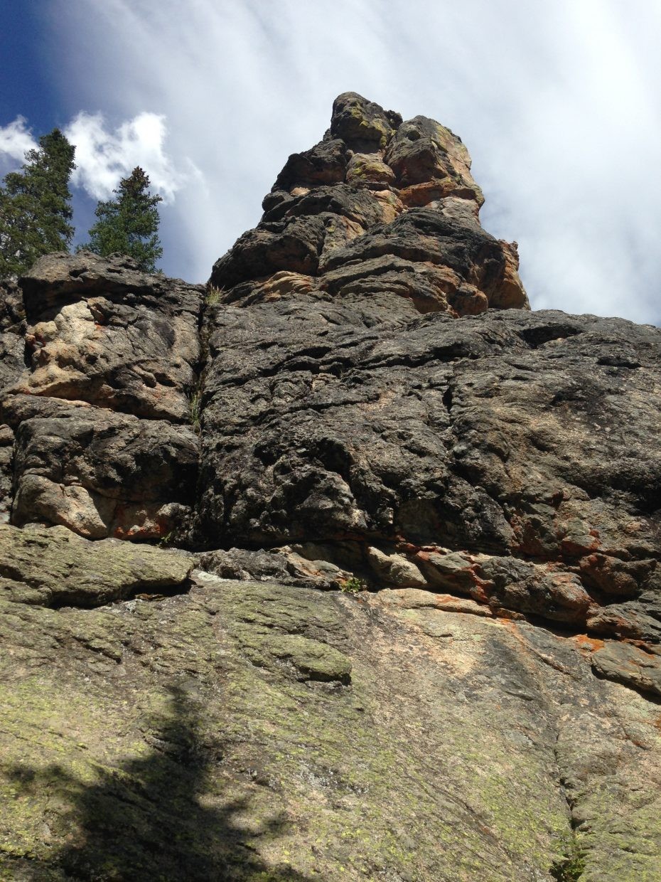 The view from the bottom of Bob Grey Tower on Rabbit Ears Pass.