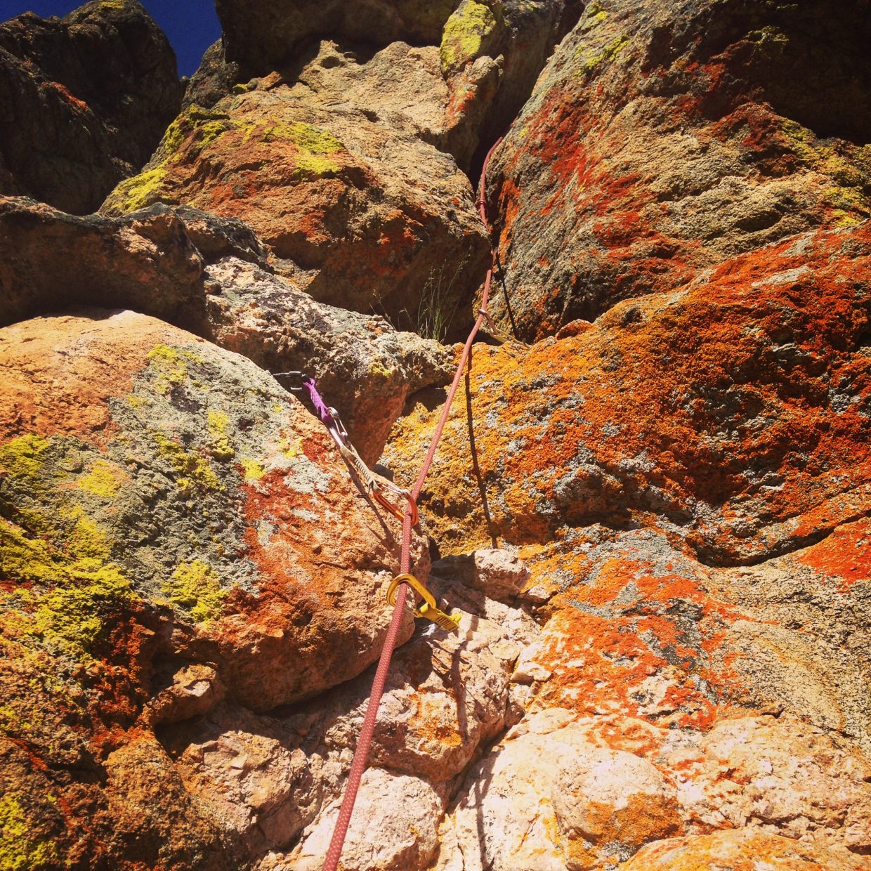 A multipitch climb is shown on Bob Grey Tower on Rabbit Ears Pass.