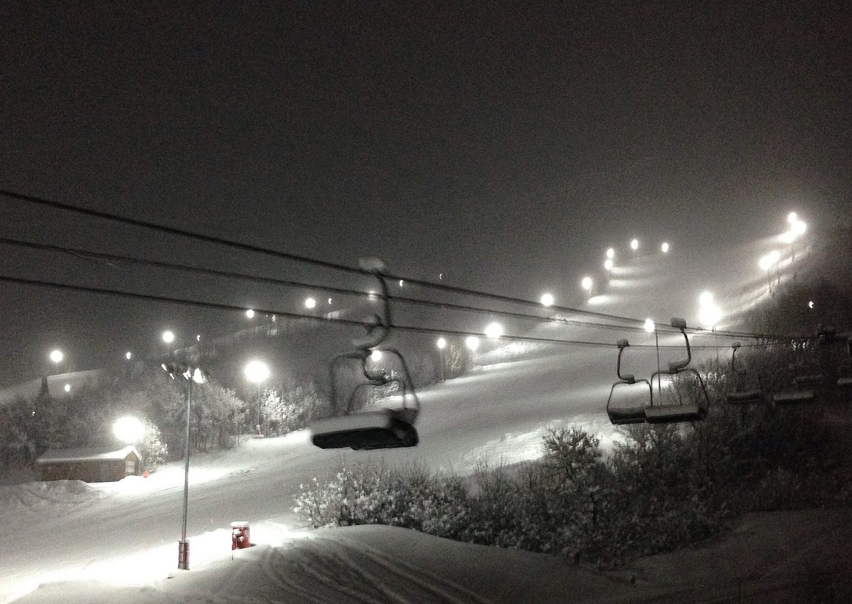 Under the lights at Steamboat Ski Area on Monday. Submitted by: Chris Lanham
