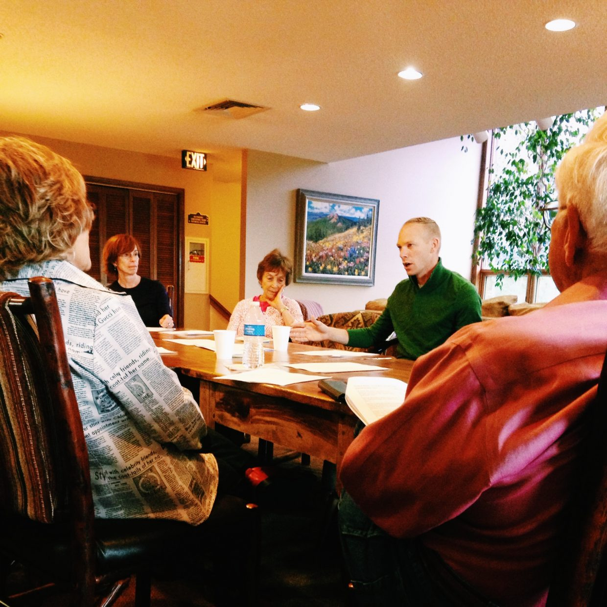 Rabbi Mark Asher Goodman leads a discussion Saturday morning at The Ranch in Steamboat Springs.