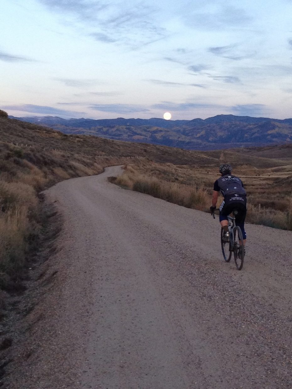 Blake Chilson riding towards a full moon on County Road 46. Submitted by Corey Piscopo.