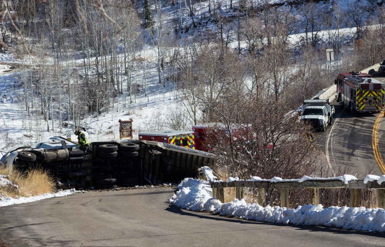 """""""Non-fatal semi crashes on Rabbit Ears Pass on 11/13/15 around noon."""" Submitted by Greg Potember."""
