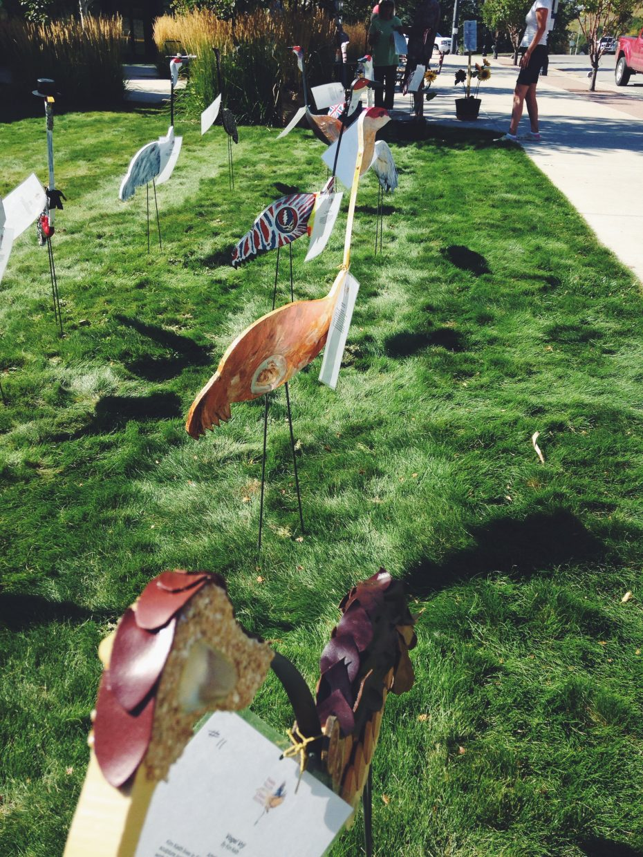 On Saturday afternoon, artistic cranes graced the lawn in front of the Bud Werner Memorial Library for the Crane Yard Art display and silent auction event held in conjunction with the Yampa Valley Crane Festival this weekend.