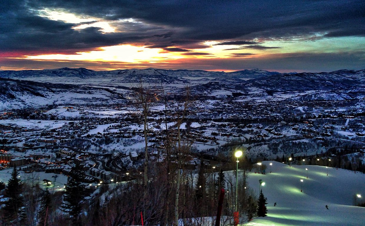 The sun sets Monday night during Steamboat Ski Corporation's Employee Appreciation Week. Employees and their dependents took advantage of a special night on the slopes of See Me and Vogue. Photo taken about 6:10 p.m. Submitted by Chris Lanham.