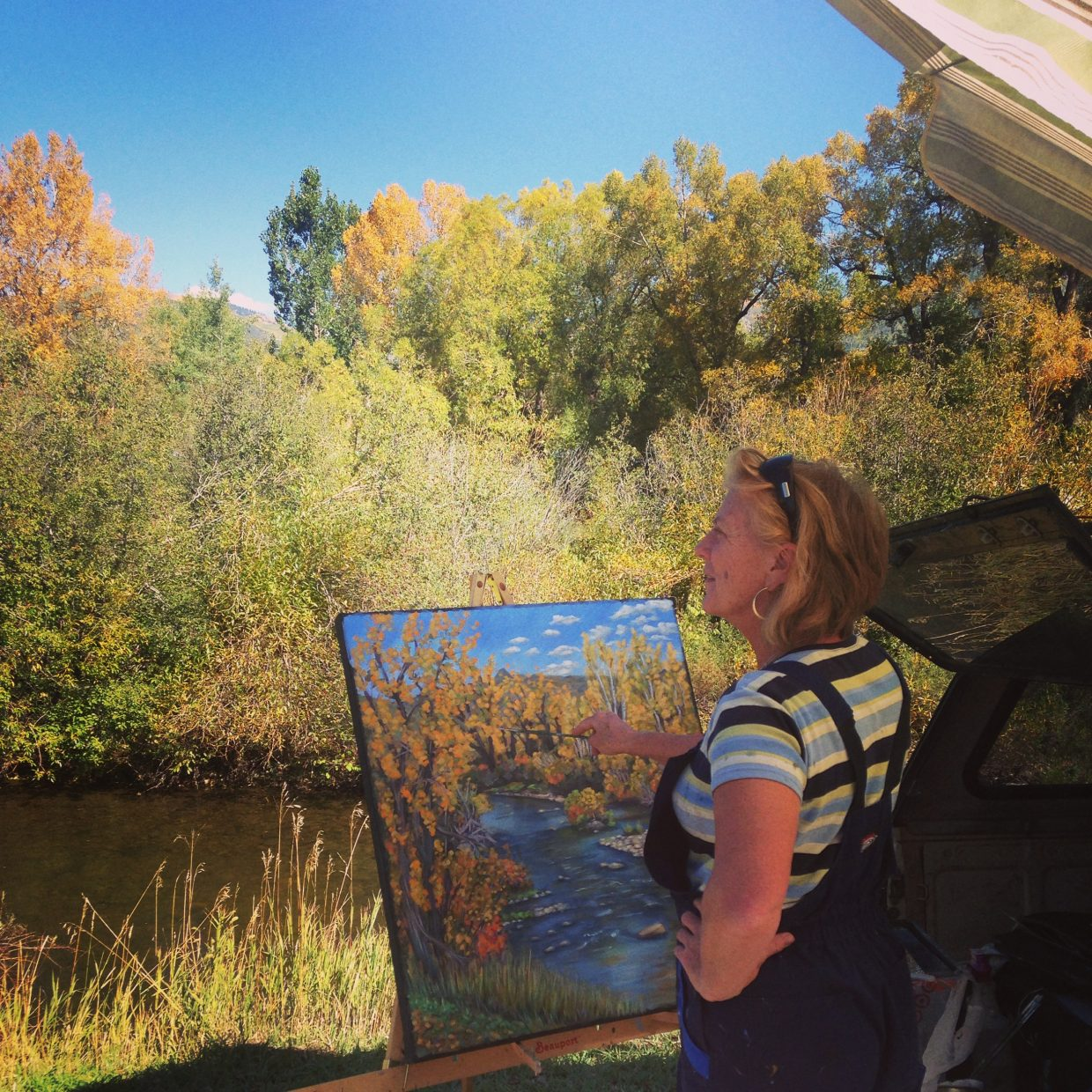 Local artist Carol Jean observes the Yampa River for her painting for the Steamboat Art Museum's Plein Air Festival, which started last Saturday and will end this Saturday.