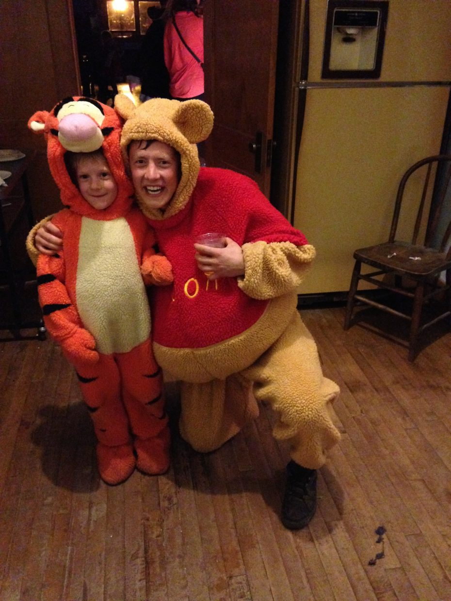 Last week at a Halloween Party Evan Rehmann as Pooh Bear posed for a photo with his little buddy, Tigger.