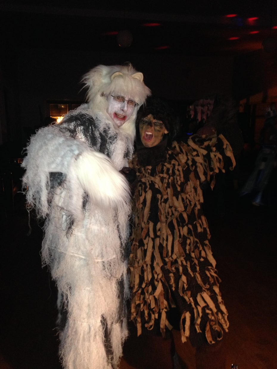 Last week at a Halloween party Kate Elkins and her husband, Matt, pose for a photo dressed as yetti and a bear.