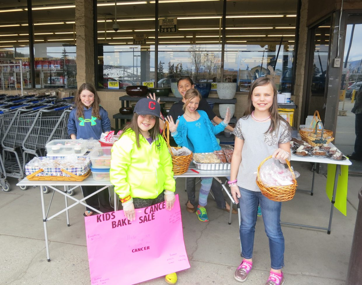 A big thanks to the community for the generous donations to the Kids and Cancer bake sale held April 12 in front of City Market. $400.34 was given to the Healthcare Foundation for the Yampa Valley to the Cancer Care fund. Soda Creek fourth-graders pictured, from left, Abigail Linner, Caroline Gilchrist, Adalia George, Freja Tynelius-Deering and Katherine Brunk. Submitted by: Laurel Linner
