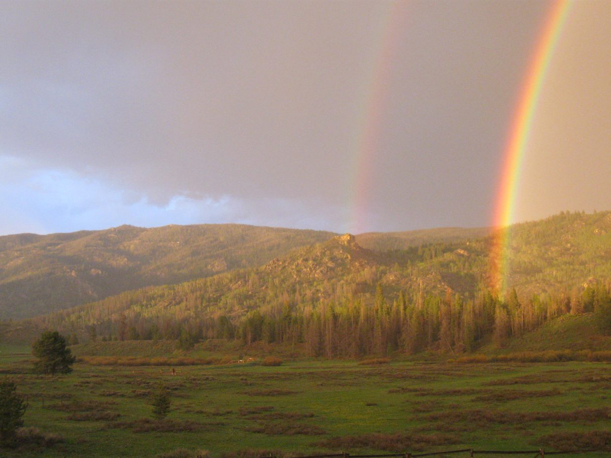 Double rainbow over Simpson Peak. Submitted by: Renata Burgess