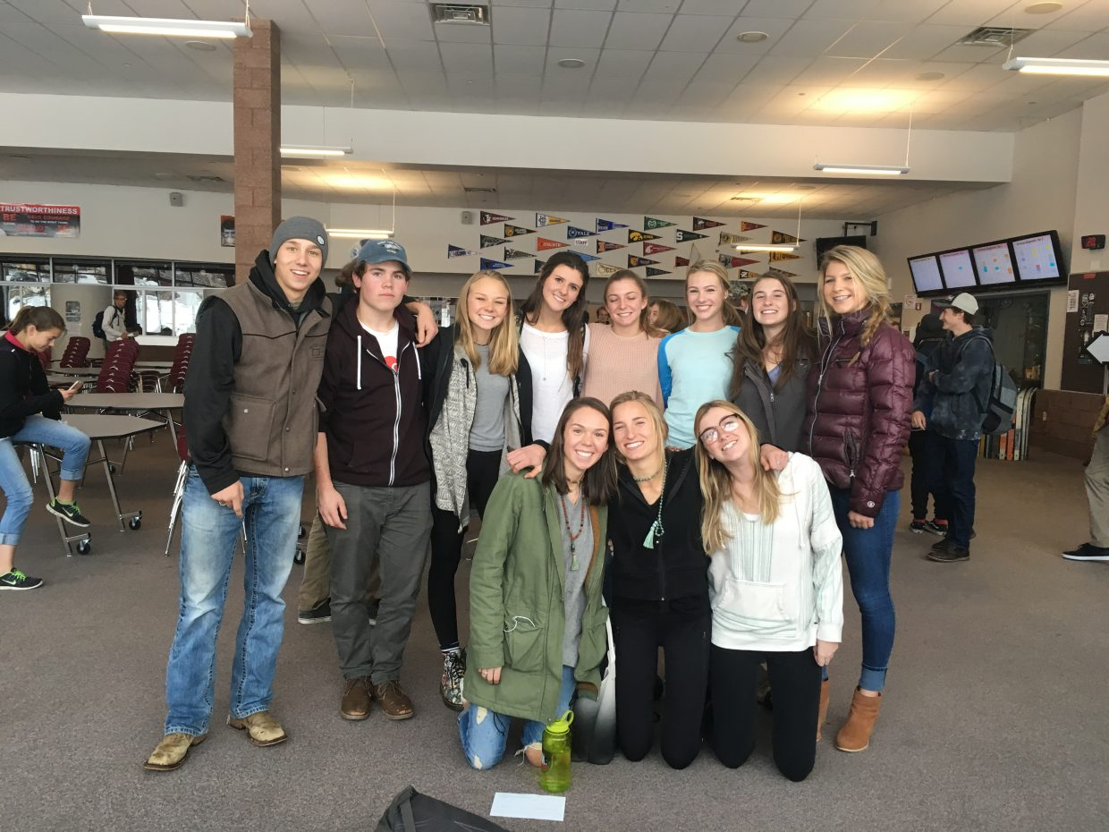 A group of Steamboat Springs High School students recently formed a club that is focused on sexual assault awareness. Pictured in the front, from left, are Mackenzie Ward, Brooke Buchanan and Riley Toye. Back row: Grant McNamara, David LaPointe, Sedona Lewis, Ellie Kavanaugh, Natalie Simon, Amy Speer, Kelly Petix and Izzy Rillos.