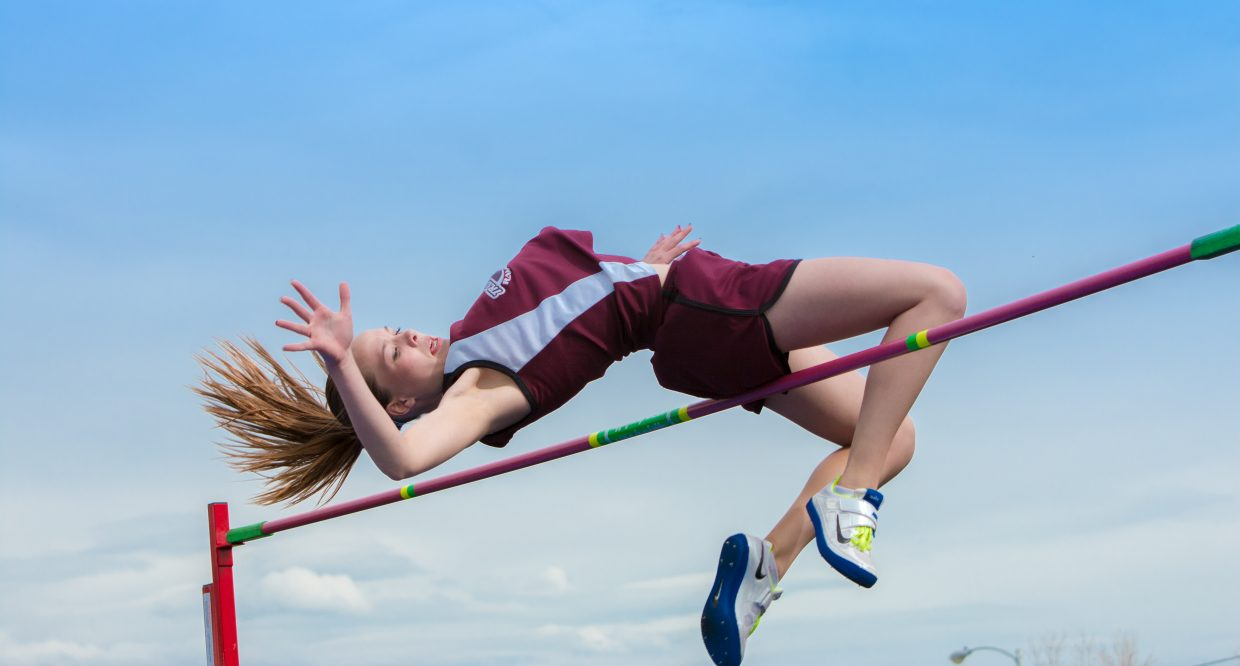 Kalie Constine clearing 5 feet in the girl's high jump at the Clint Wells Invite Friday afternoon. Submitted by Geri Bruggink.