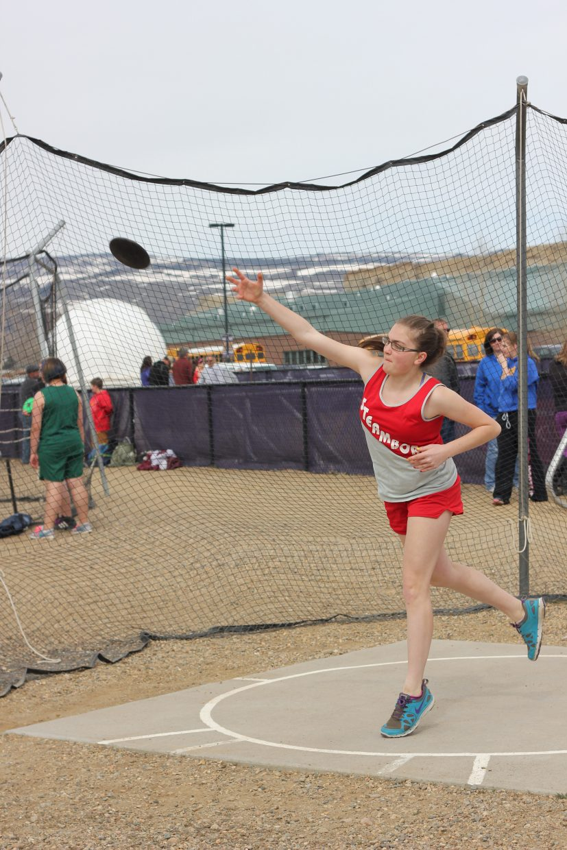 At the Steamboat Springs Middle School track meet in Kremmling on Saturday, April 12th. Submitted by Brenda Ehrlich.
