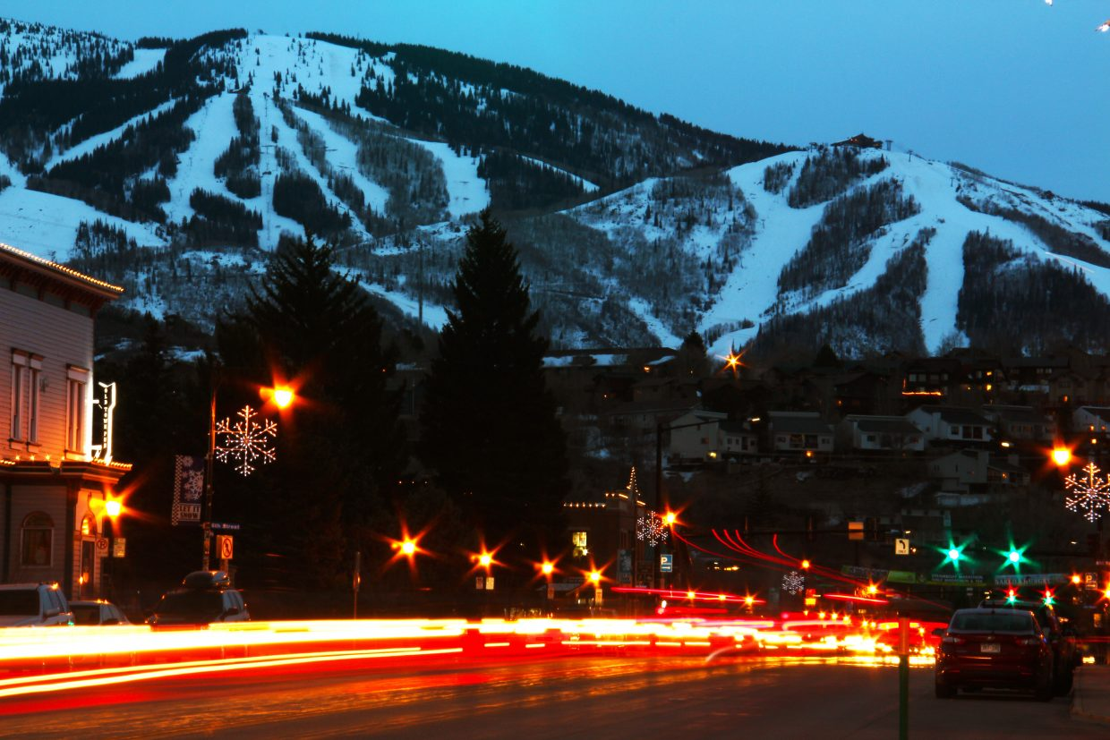 Dusk from downtown Steamboat looking at the mountain. Settings: f29, 30sec, ISO100, 90mm. Submitted by Brendan Durrum.