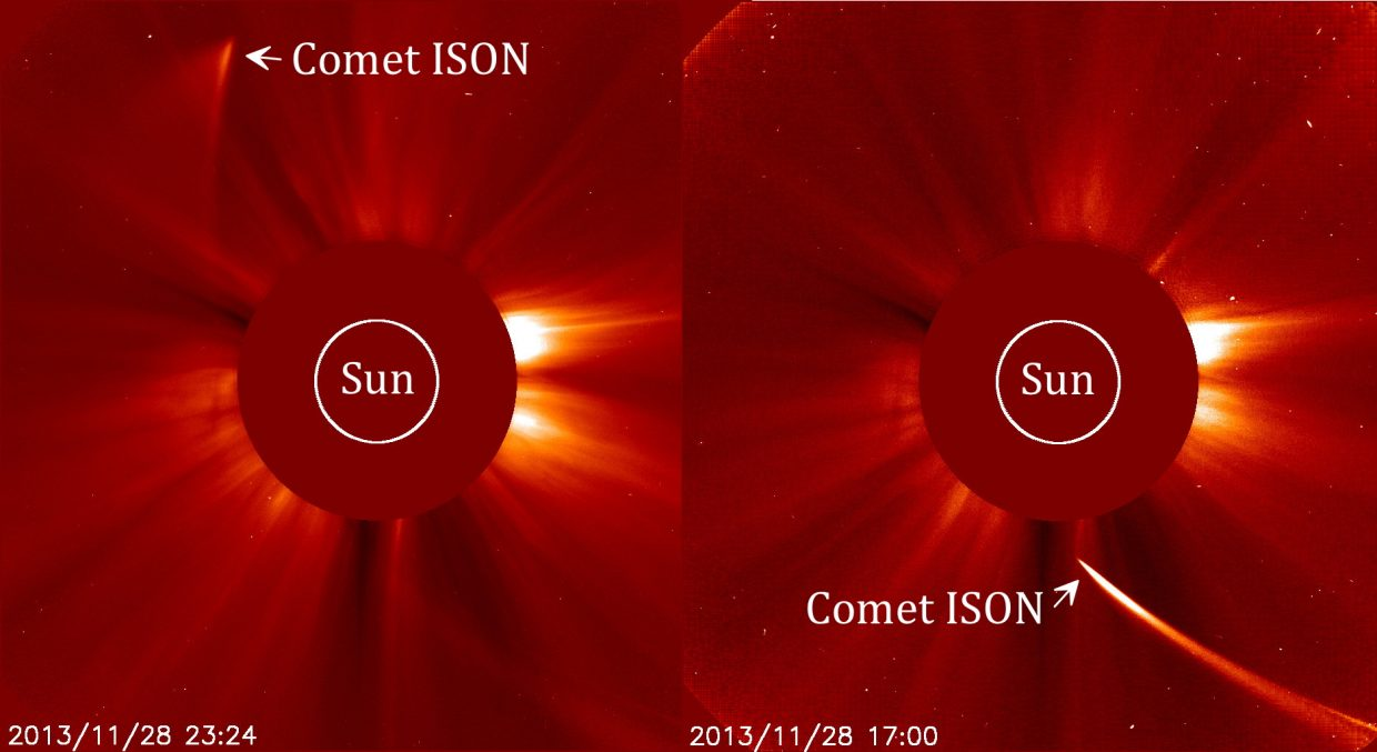 Although invisible from Earth, Comet ISON's daring dart at the Sun was captured by NASA's orbiting Solar and Heliospheric Observatory (SOHO) on Thanksgiving Day. The image at right shows Comet ISON as it approached the Sun, still looking like a comet. The image at left was made six hours later and the puff of smoke that appeared soon dissipated into space. Comet ISON did not survive.