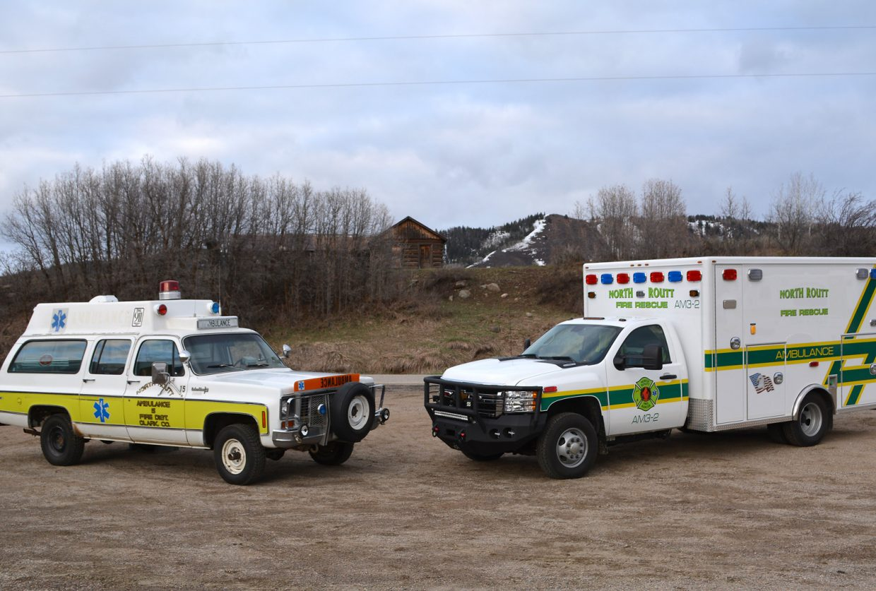 The new North Routt Fire Rescue ambulance, right, uses a forward-looking infrared camera to help the driver spot large mammals such as cows and elk on the road at night before they can be seen in the beam of headlights. The decommissioned ambulance at left is North Routt Fire Protection District's original ambulance, a 1972 Chevrolet Suburban.