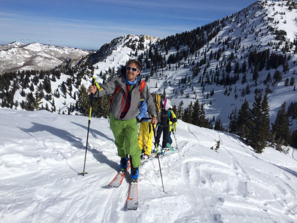 Sean McCoy, managing editor of GearJunkie.com, leads a pack of equipment testers backcountry touring in Utah's Wasatch Mountains near Alta, with the author assuming his usual spot toward the rear of the line.