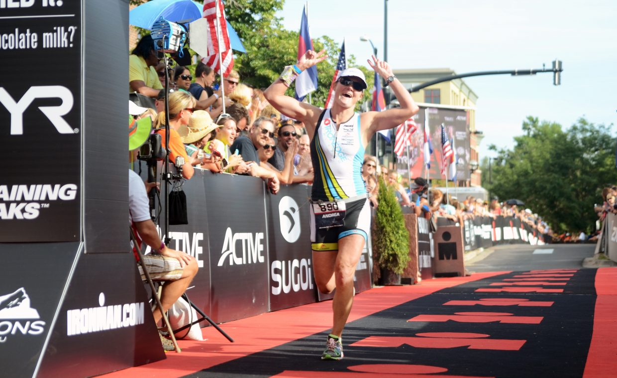 Andrea Wilhelm was the first finisher from Steamboat Springs on Sunday at the inaugural Boulder Ironman, crossing in 11 hours, 16 minutes. Wilhelm vowed afterward to make the gritty race her last full Ironman.