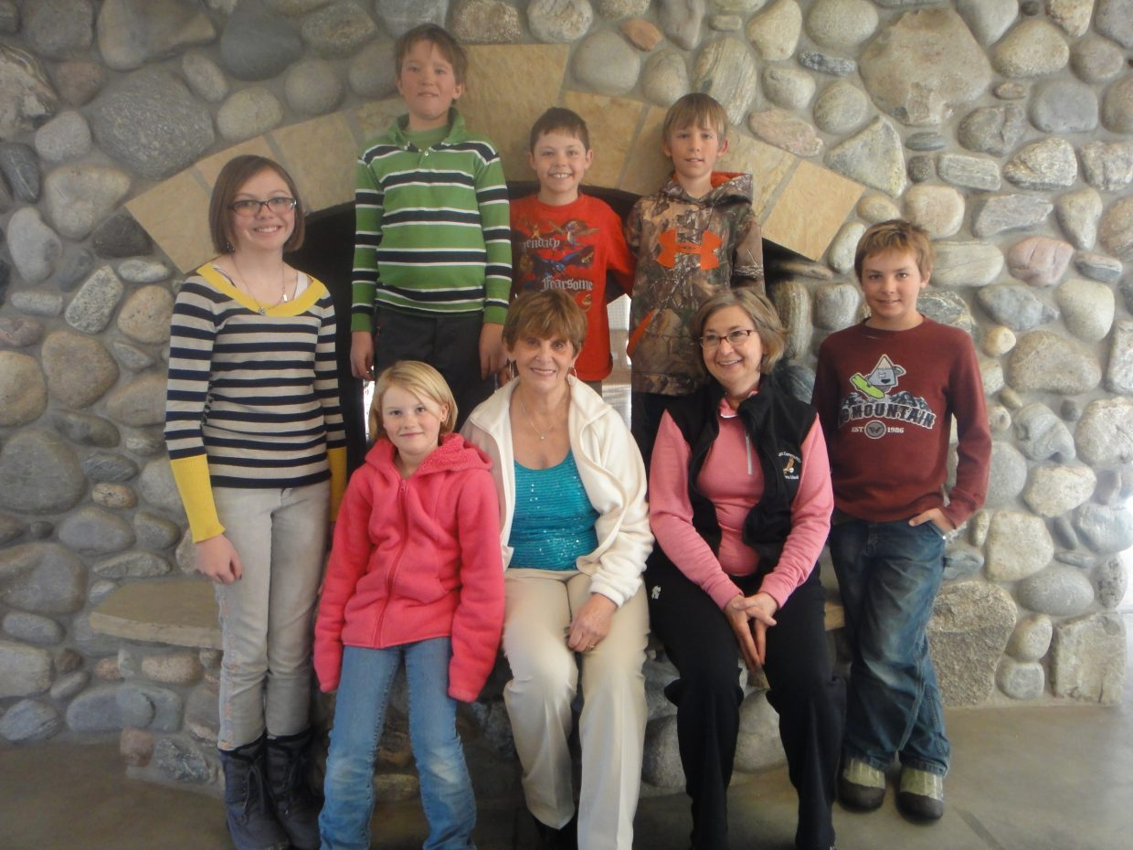 January birthdays at North Routt Community Charter School. Standing left to right, McKinley Muhlbauer, Levi Twitchell, Thomas Reilley, Weston Boese and Jameson Tracy. Sitting left to right, Sara Johnson, Barbara Rexrode and Missy Beirne. Submitted by: Stella Peroulis