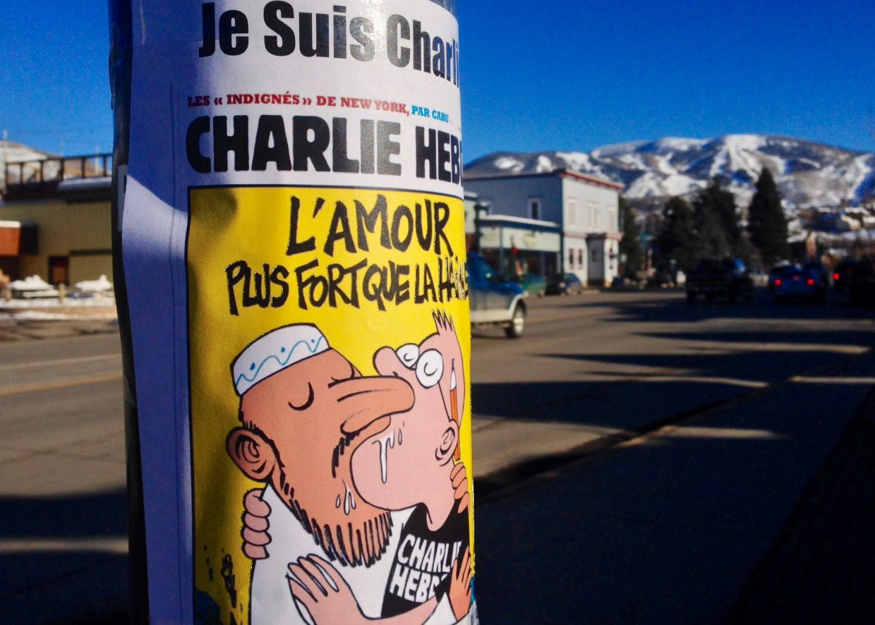 Steamboat shows solidarity for our French brothers and sisters fighting for freedom of expression. Submitted by: Matt Eidt