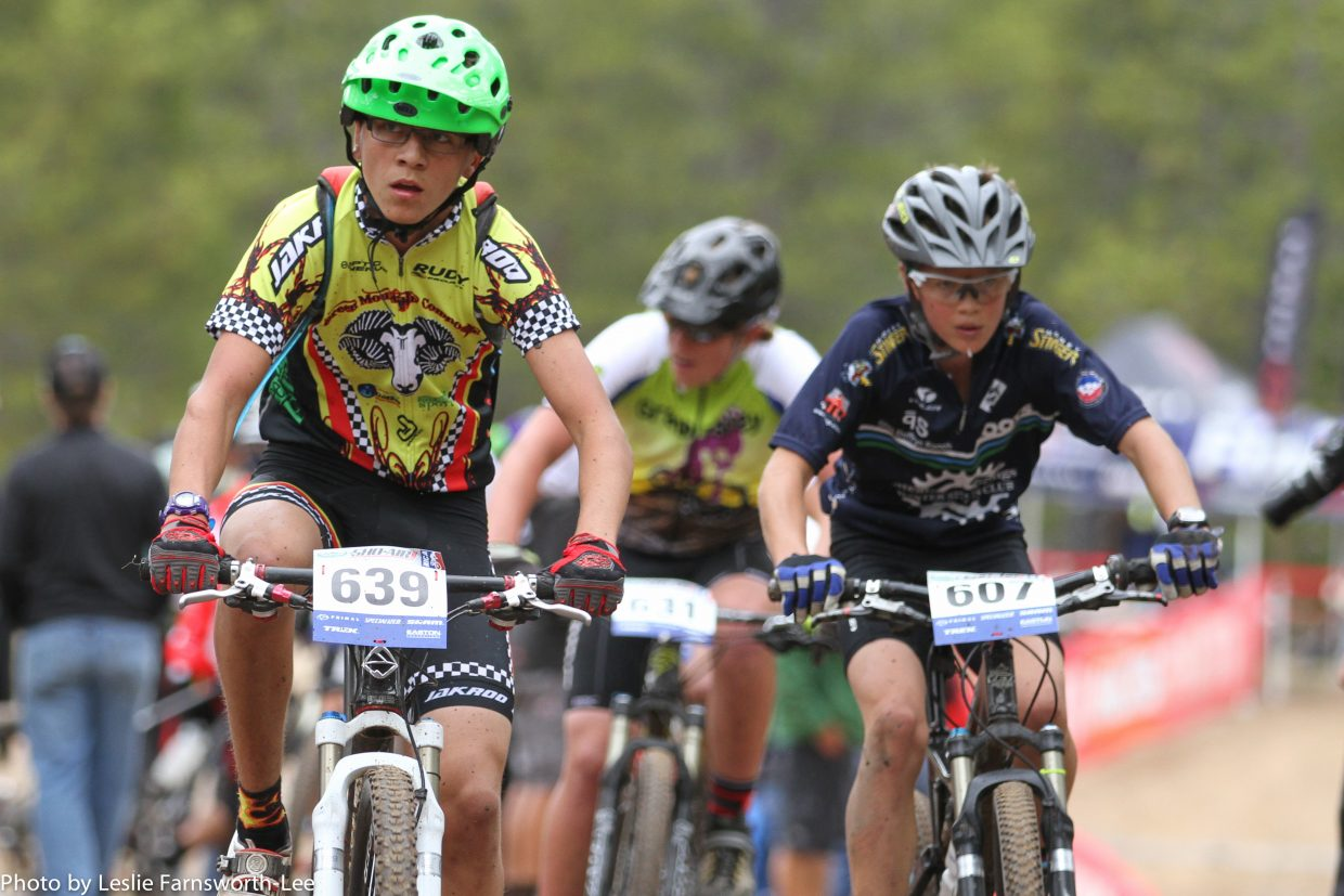 """Simon Zink, team member of the Steamboat Springs High School Mountain Bike Racing team competes in the Cloud City Challenge in Leadville. The documentary showing """"SingleTrack High"""" at Gondola Square on Saturday will benefit the local biking team."""
