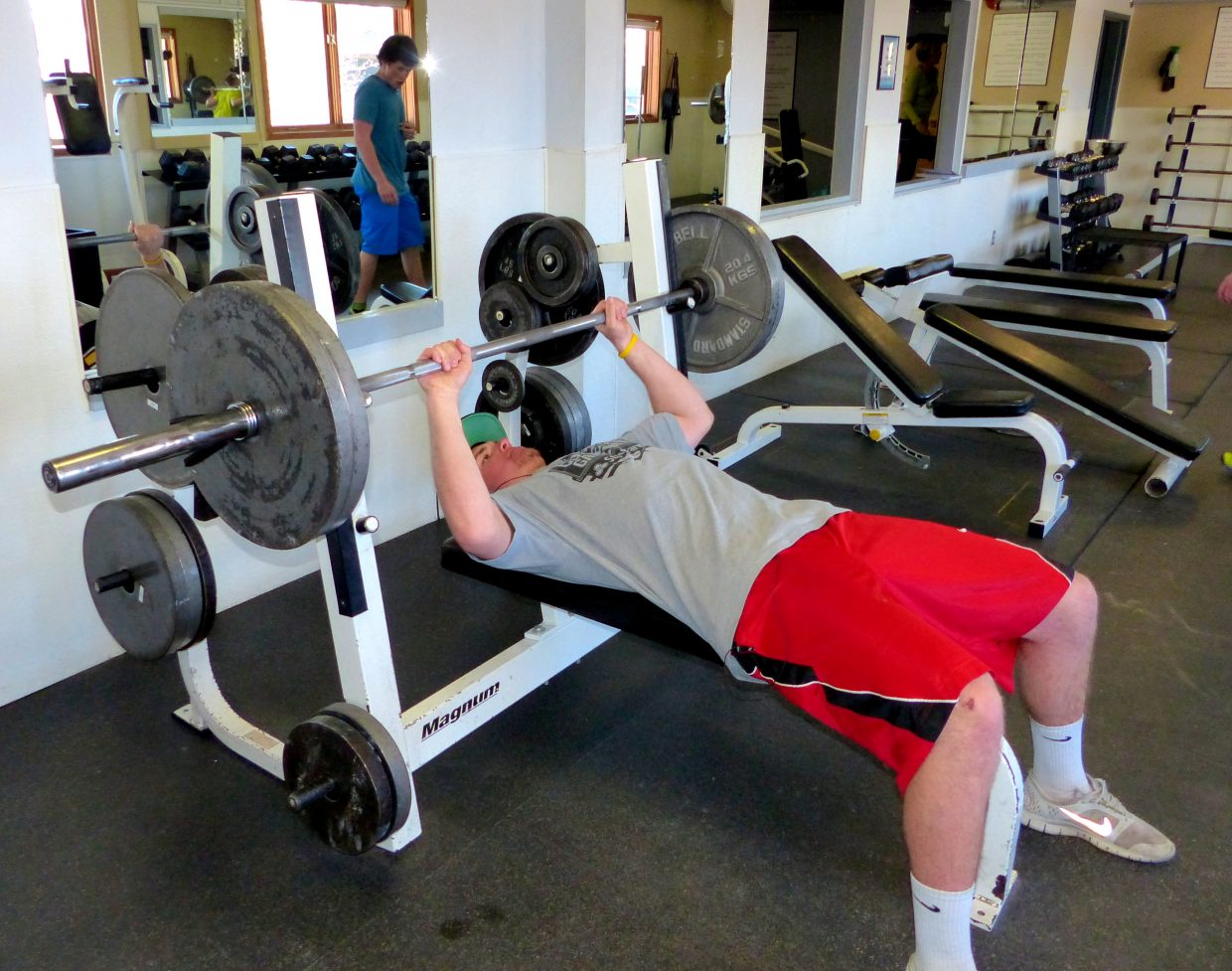 We're always happy when college kids are home for spring break. John Wharton goes to CU in Boulder and spent some time in the free weight room of the Fitness Center at Old Town Hot Springs. Submitted by: Shannon Lukens