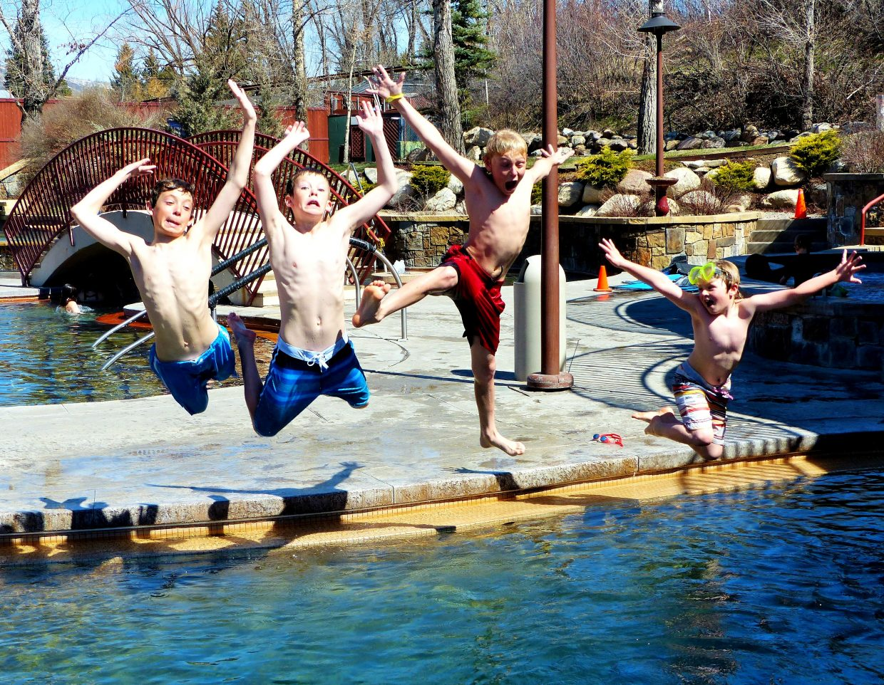 These happy boys are jumping for joy that there is no school in Steamboat today. They spent the day playing at Old Town Hot Springs. Submitted by Shannon Lukens