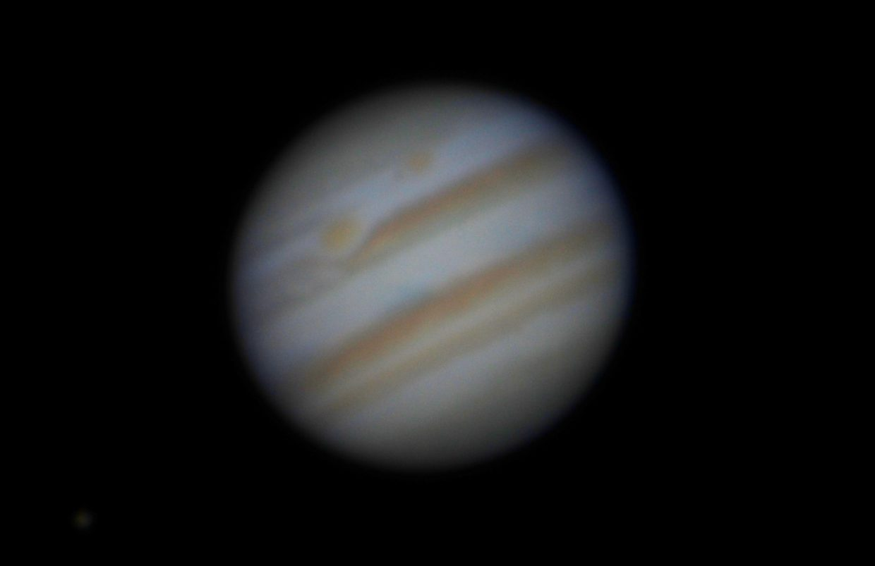 The Earth comes within 414-million miles of the giant planet Jupiter on April 8, the night of opposition. To the naked eye, it will gleam as the brightest object in the evening sky. Through a telescope, you can see four moons, dark cloud stripes and, with a little luck, the Great Red Spot. This image shows Jupiter as seen through the historic 60-inch Hale telescope at Mt. Wilson Observatory near Pasadena, California, on Dec. 8, 2012.