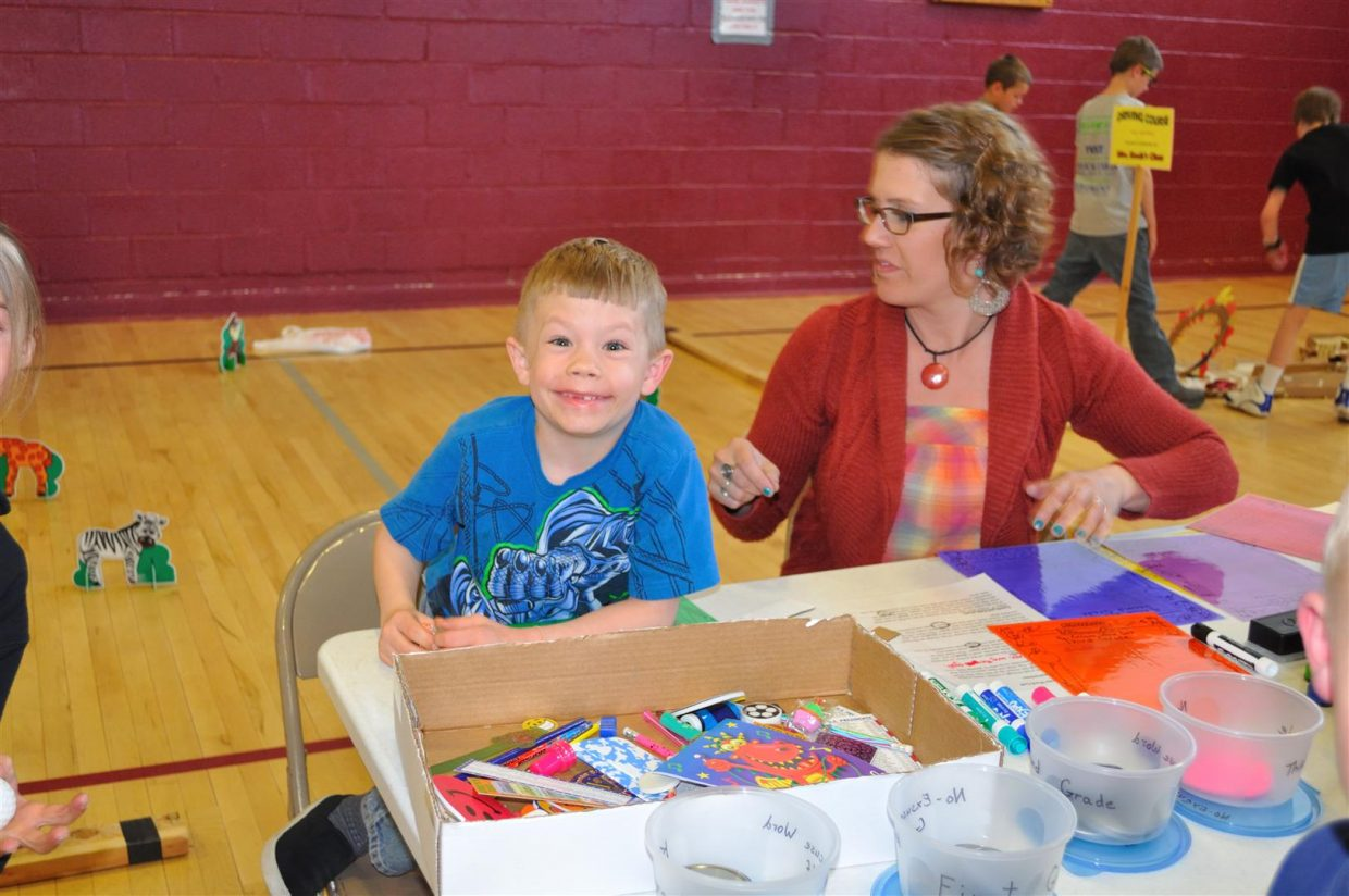 Kodie King with Rose Swenson at the Literacy Carnival at South Routt Elementary School. Submitted by: Audrey Walker