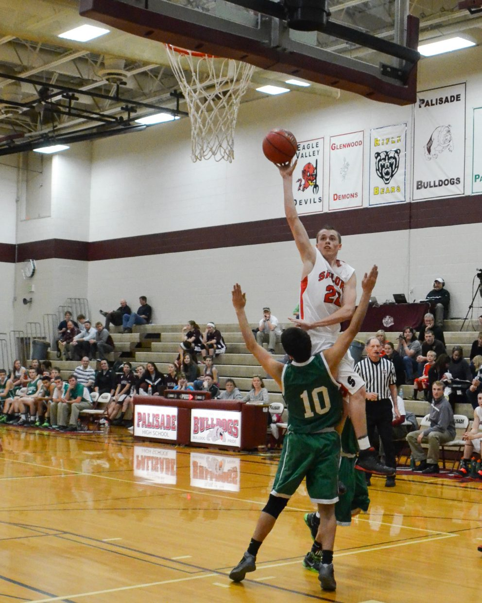 Brody King drives for a layup during Steamboat Springs' game against Delta in the Western Slope tournament. Steamboat won, 45-27.