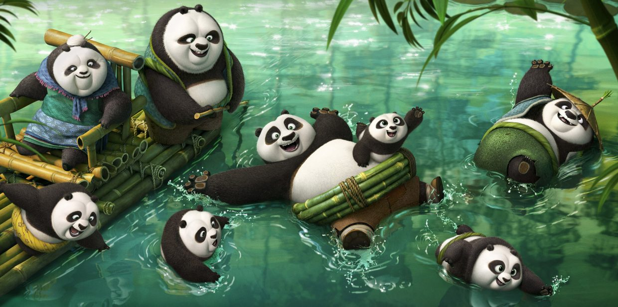 """Po (voice of Jack Black) frolics with his newfound relatives in """"Kung Fu Panda 3."""" The movie is a sequel in the series about a panda who must use his martial arts skills to save the world."""