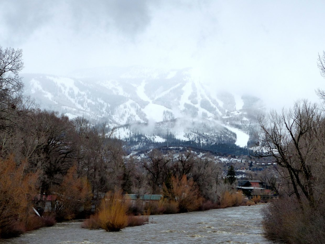 Steamboat this morning, just before the snow started falling HARD. It shows the Yampa River rising rapidly. Submitted by Shannon Lukens.