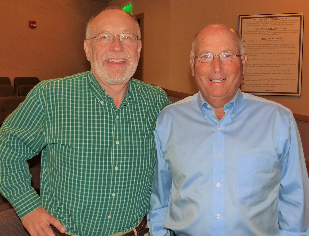 Here is incoming Chamber CEO Jim Clark with outgoing Chamber CEO Tom Kern. Submitted by: Shannon Lukens